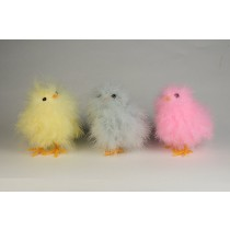 Chick Fuzzy Yellow/Blu/Pnk Asst*3 4""