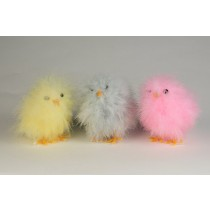 Chick Fuzzy Yellow/Blu/Pnk Asst*3 3""