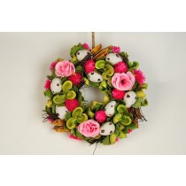 Wreath Egg Wht w/Pink Flower/Grn Pod 9.5""