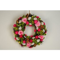 Wreath Egg Wht w/Pink Flower/Grn Pod 12""