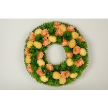 Wreath Egg Yel on Grn/Org Woodchip 14""