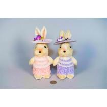 """Rabbit Lte Jute w/Pnk/Pur Clothes/Hat Asst*2 8.5"""""""