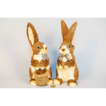 Rabbit Brown Jute w/Basket Standing Asst*2 11""