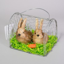 Rabbit Brn Nat In Wire Cage x2. 6""
