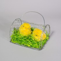 Chick Yellow Fur in Wire Cage  x2 6""
