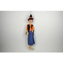 """Witch Org/Blu Dress/Blk Hat w/Hanger 22"""""""