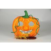 Pumpkin Jack O Lantern w/Raffia Ribbon