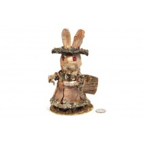 Rabbit Birch Bark Standing w/Basket 8""