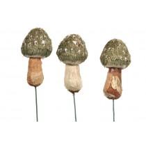 "Mushroom Grn Grass Pick Asst*3 4.5"""