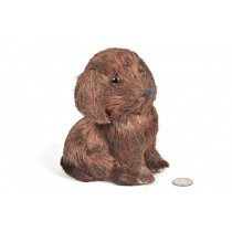 Dog Brown Jute Sitting 6""