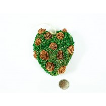 Wreath Heart Green Grass/Twig/Brn Flwr 3.5""