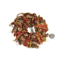 Wreath Brown Cone w/Red Lichen/Glit 7""