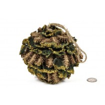 Ball Brown Cone w/Green Lichen/Glit 5.5""