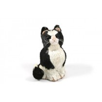Cat Black/White Sitting 6.5""