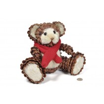 Bear Brown Cone Chip/Jute w/Red Scarf 8""