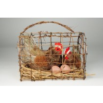 Hen Brown Grass Pair w/Egg in Cage 12""