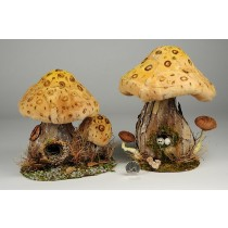 "Mushroom House Nat. Cattail Asst*2 8"""