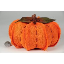 "Pumpkin Orange Burlap Hand Stitch 7""x4"""