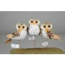 """Owl Burlap Lichen w/Hanger 2.5"""""""