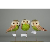 "Owl Green Burlap w/Pick 2.5"""