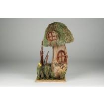 "Mushroom House Green Grass w/Lichen 10.5""H"