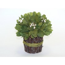 Bundle Grn Woodchip Flower w/Wht Berry 7""