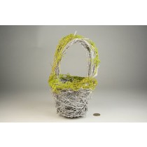 "Basket Twig w/Green Moss 9""H"