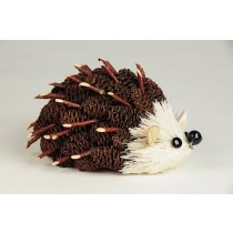 Hedgehog Brown Mini-Cone w/Twig 4.5""