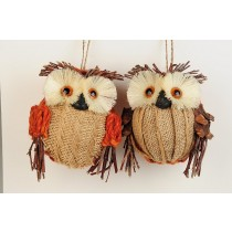 "Owl Pinecone/Burlap Asst*2 4"""