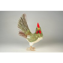 """Rooster Grass/Jute Head Turning 12"""""""