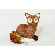 Fox Brown Jute/Fur Tail Sitting 8.5""