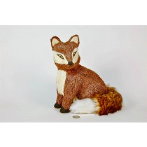 Fox Brown Jute/Fur Tail Sitting 11""