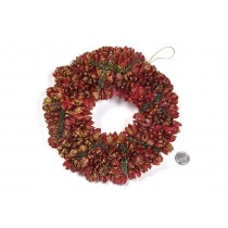 Wreath Red Pod w/Gold Glit 8""