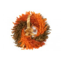 Wreath Orange/Brown Feather 19""