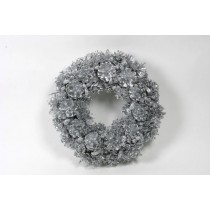 Wreath Silver Cone/Berry/Grass 13""