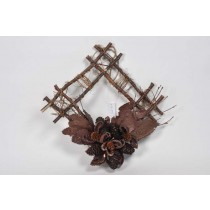 Wreath Square Brn Twig w/Cone/Pod/Glit 12""
