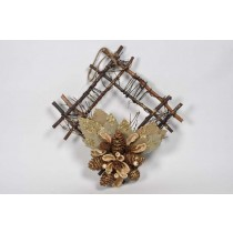 Wreath Square Brn Twig/Cone w/Leaf/Glit12""