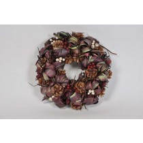 Wreath Purple Leaf/Cone/Twig/Wht Berry 11""