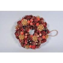Wreath Red/Gold Cone/Leaf/Berry/Glit 9.5""