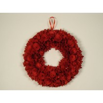 Wreath Red Woodchip Round 15.5""