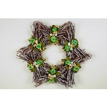 Wreath Star Twig w/Grn Flower 16""