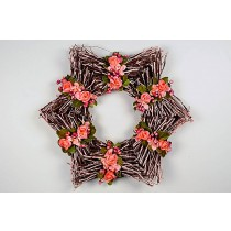 Wreath Star Twig w/Peach Flower 16""