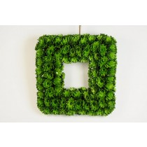 Wreath Square Green Woodchip 14""