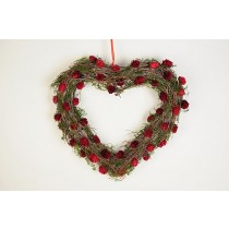 Wreath Heart Brown Twig/Red Mini Cone 16""