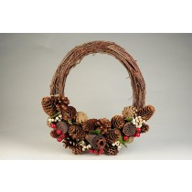 Wreath Brown Twig/Cone/Pod/Berry/Snow 11""