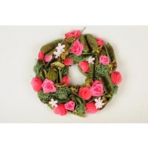 Wreath Green Pod/Moss w/Pink Rose 9""