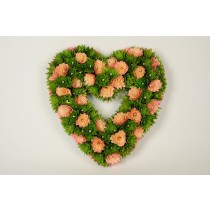 Wreath Heart Green Woodchip/Pnk Trim Flwr14""