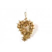 Wreath Heart Gold Pod 7""