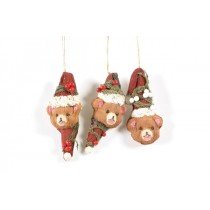 Bear Head w/Red Berry/Hanger Asst*3