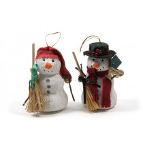 Snowman Red/Grn w/Bloom/Hanger Asst*2 4""